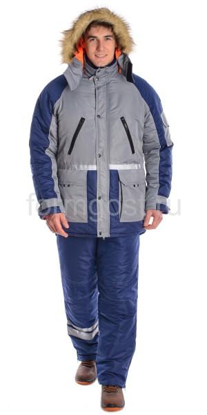 """Куртка """"Ангара"""" утепл., сер. + син."""