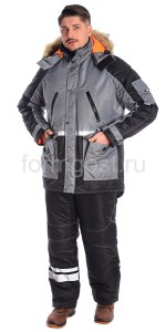 "Куртка ""Ангара"" утепл., сер. + черн."
