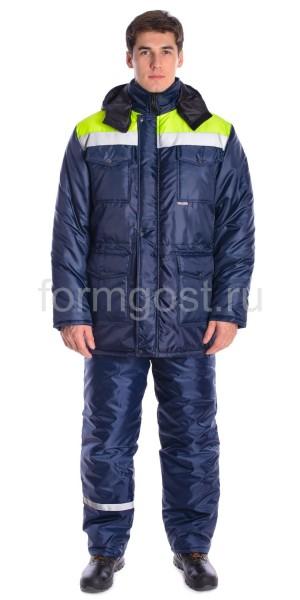 """Куртка """"Профи Плюс"""" утепл., син. + желт. фл."""