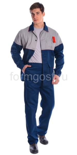 """Куртка """"Мегаполис"""" удлиненная, сер. + син."""