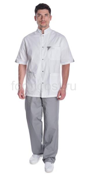 "Блуза ""Элит"" мед. муж., бел. + сер."