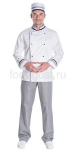 """Китель """"Шеф-повар"""", бел. + сер. + син."""