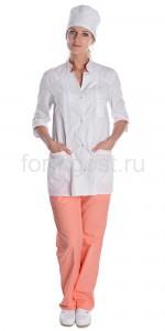 """Костюм """"Соната"""" женский, бел. + персик"""