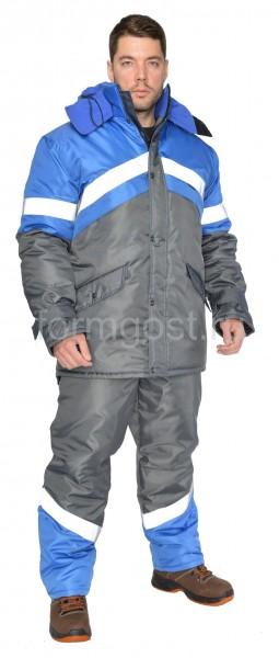 """Костюм """"Эверест"""" утепленный с полукомбинезоном, серый + василек"""