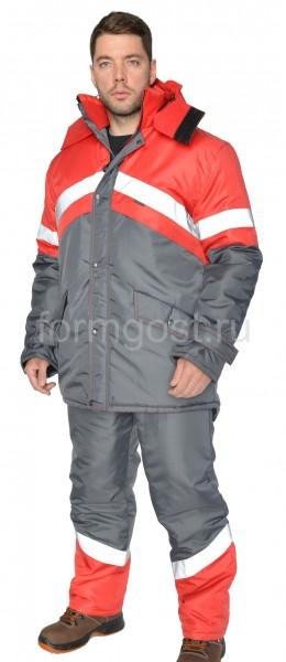 """Костюм """"Эверест"""" утепленный с полукомбинезоном, серый + красный"""