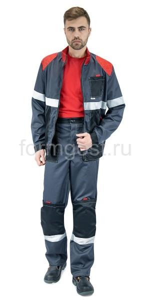 """Костюм """"ФОРМГОСТ"""" с брюками, серый + черный + красный"""