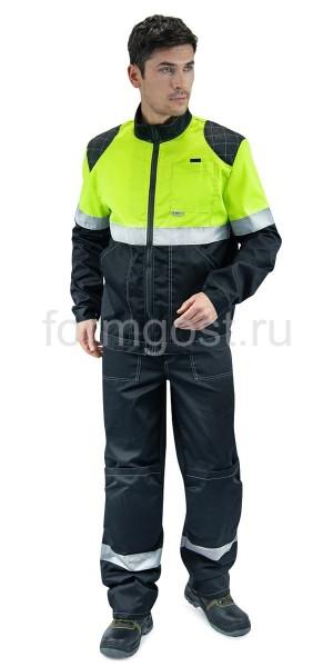 """Костюм рабочий """"ФОРМГОСТ"""" с брюками, черный + желтый флуоресцентный"""
