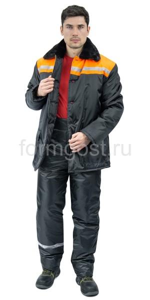 "Костюм ""Зима 2"" утепл. с бр., черн. + оранж."