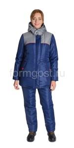 "Куртка ""Мегаполис"" утепл. женский, син. + сер. вид спереди"