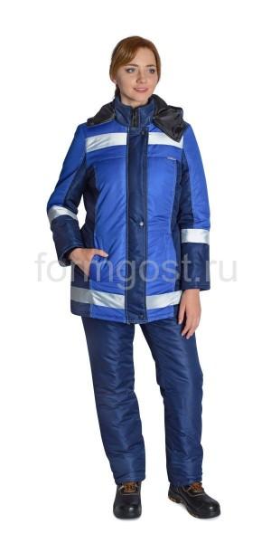 "Куртка ""Меридиан"" утепл. женский, син. + вас. вид спереди"