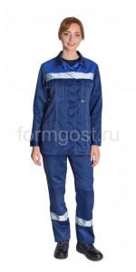 "Костюм ""Эксперт"" с брюками, женский, синий вид спереди"