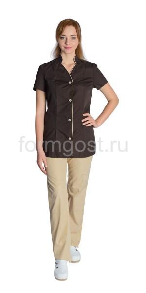 """Блуза """"Диана"""" женская, коричневая, вид спереди"""