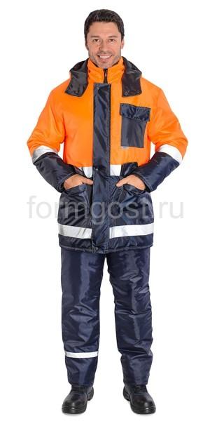"""Куртка """"Трасса"""" утепленная, оранжевый флюоресцентный + синий"""