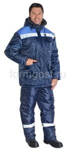 """Костюм """"Труд М"""" утепленный с полукомбинезоном, синий + васильковый"""