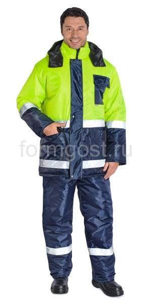 """Куртка """"Трасса"""" утепленная, желтый флюоресцентный + синий"""