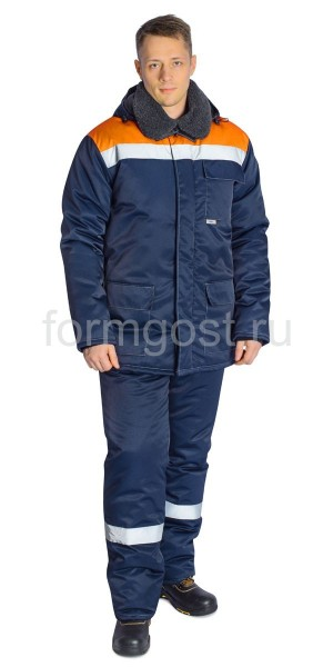 """Куртка """"Труд М"""" утепленная, синий + оранжевый вид спереди"""