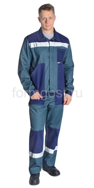 "Костюм ""Труд"" с брюками, ткань - саржа, цвет серый + синий вид спереди"