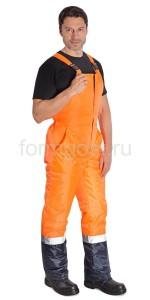 "Полукомбинезон ""Трасса"" утепл., оранж.фл. + син."