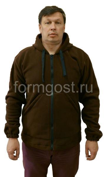 Толстовка флис с капюшоном, коричневый