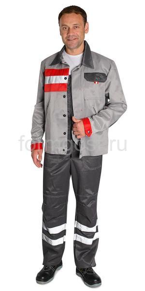 """Куртка """"Имидж"""" св. сер.+ красн."""