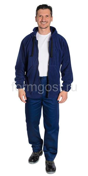Толстовка флис с капюшоном, т. синий