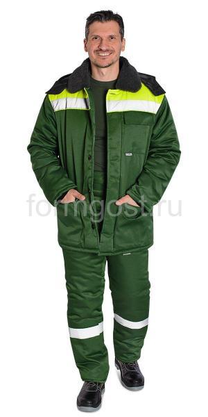 """Куртка """"Труд М"""" утепл., зел. + желт. фл."""